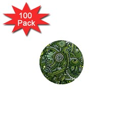 Green Boho Flower Pattern Zz0105 1  Mini Magnet (100 Pack)  by Zandiepants