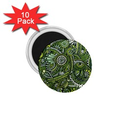 Green Boho Flower Pattern Zz0105 1 75  Magnet (10 Pack)  by Zandiepants