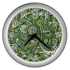 Green Boho Flower Pattern Zz0105 Wall Clock (silver) by Zandiepants