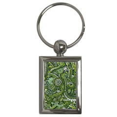 Green Boho Flower Pattern Zz0105 Key Chain (rectangle) by Zandiepants