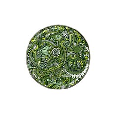 Green Boho Flower Pattern Zz0105 Hat Clip Ball Marker by Zandiepants
