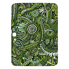Green Boho Flower Pattern Zz0105 Samsung Galaxy Tab 3 (10 1 ) P5200 Hardshell Case  by Zandiepants