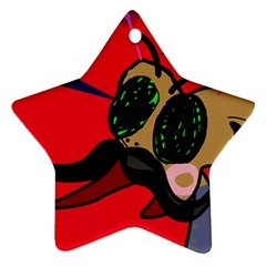 Mr Fly Star Ornament (two Sides)  by Valentinaart