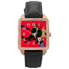 Mr Fly Rose Gold Leather Watch  by Valentinaart