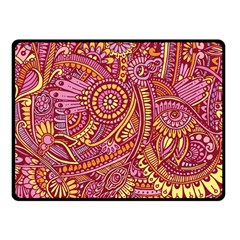 Pink Yellow Hippie Flower Pattern Zz0106 Fleece Blanket (small) by Zandiepants