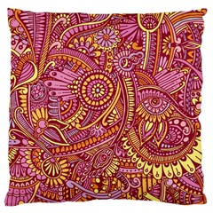 Pink Yellow Hippie Flower Pattern Zz0106 Large Cushion Case (one Side) by Zandiepants