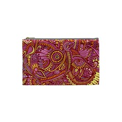 Pink Yellow Hippie Flower Pattern Zz0106 Cosmetic Bag (small) by Zandiepants