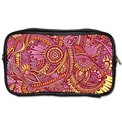 Pink Yellow Hippie Flower Pattern Zz0106 Toiletries Bag (two Sides)