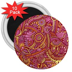 Pink Yellow Hippie Flower Pattern Zz0106 3  Magnet (10 Pack) by Zandiepants