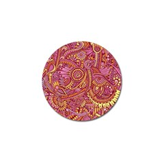Pink Yellow Hippie Flower Pattern Zz0106 Golf Ball Marker (4 Pack) by Zandiepants