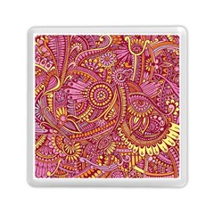 Pink Yellow Hippie Flower Pattern Zz0106 Memory Card Reader (square) by Zandiepants