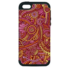 Pink Yellow Hippie Flower Pattern Zz0106 Apple Iphone 5 Hardshell Case (pc+silicone) by Zandiepants