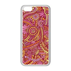 Pink Yellow Hippie Flower Pattern Zz0106 Apple Iphone 5c Seamless Case (white) by Zandiepants