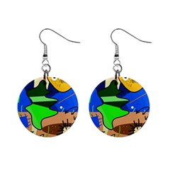 Aquarium  Mini Button Earrings