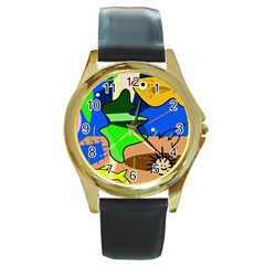 Aquarium  Round Gold Metal Watch by Valentinaart