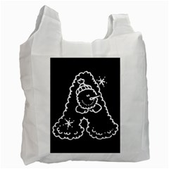Funny Snowball Doodle Black White Recycle Bag (one Side) by yoursparklingshop