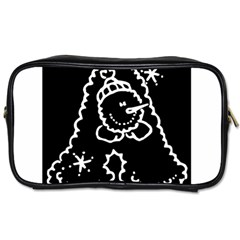 Funny Snowball Doodle Black White Toiletries Bags 2 Side by yoursparklingshop