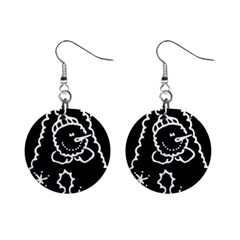 Funny Snowball Doodle Black White Mini Button Earrings by yoursparklingshop