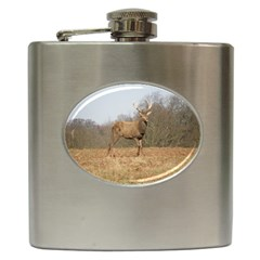 Red Deer Stag On A Hill Hip Flask (6 Oz) by GiftsbyNature