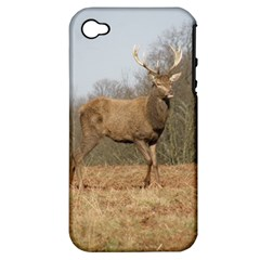 Red Deer Stag On A Hill Apple Iphone 4/4s Hardshell Case (pc+silicone) by GiftsbyNature