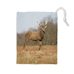 Red Deer Stag On A Hill Drawstring Pouches (large)  by GiftsbyNature