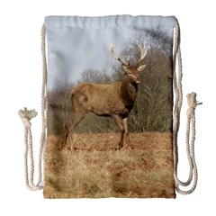 Red Deer Stag On A Hill Drawstring Bag (large) by GiftsbyNature
