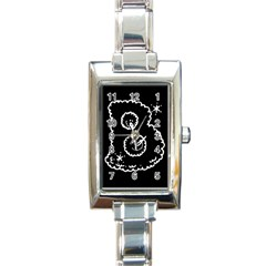 Funny Black And White Doodle Snowballs Rectangle Italian Charm Watch by yoursparklingshop