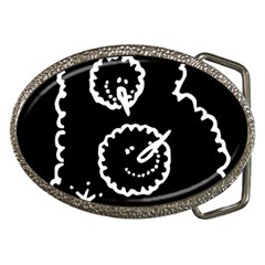 Funny Black And White Doodle Snowballs Belt Buckles by yoursparklingshop