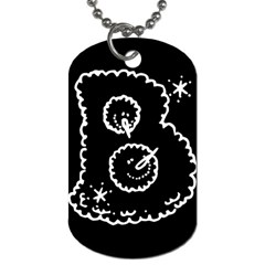 Funny Black And White Doodle Snowballs Dog Tag (one Side) by yoursparklingshop