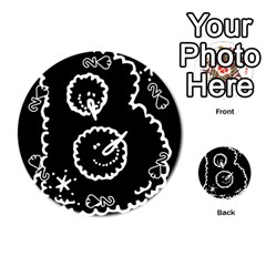 Funny Black And White Doodle Snowballs Playing Cards 54 (round)  by yoursparklingshop