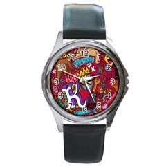 K Pattern Cartoons Round Metal Watch