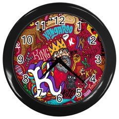 K Pattern Cartoons Wall Clocks (black) by AnjaniArt