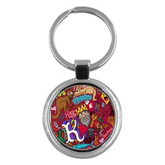 K Pattern Cartoons Key Chains (round)