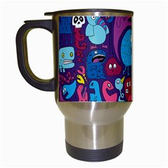 Mo Monsters Mo Patterns Travel Mugs (white) by AnjaniArt