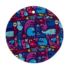 Mo Monsters Mo Patterns Round Ornament (two Sides)