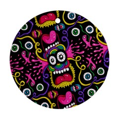 Monster Face Mask Patten Cartoons Ornament (round)