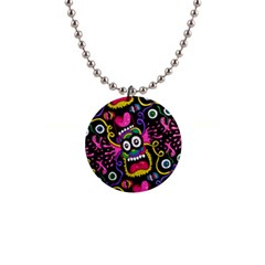 Monster Face Mask Patten Cartoons Button Necklaces
