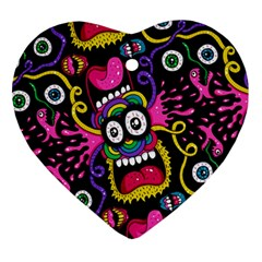 Monster Face Mask Patten Cartoons Heart Ornament (2 Sides) by AnjaniArt