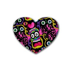 Monster Face Mask Patten Cartoons Rubber Coaster (heart)