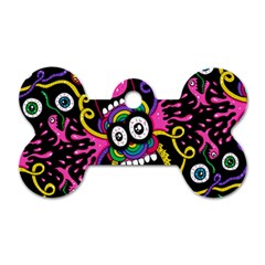 Monster Face Mask Patten Cartoons Dog Tag Bone (two Sides) by AnjaniArt