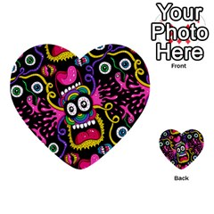 Monster Face Mask Patten Cartoons Multi Purpose Cards (heart)  by AnjaniArt