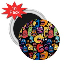Monster Faces 2 25  Magnets (10 Pack)