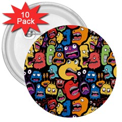 Monster Faces 3  Buttons (10 Pack)