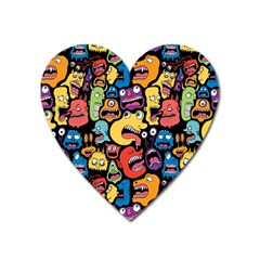 Monster Faces Heart Magnet by AnjaniArt