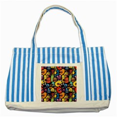 Monster Faces Striped Blue Tote Bag