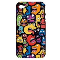 Monster Faces Apple Iphone 4/4s Hardshell Case (pc+silicone)
