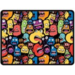 Monster Faces Double Sided Fleece Blanket (Large)  80 x60  Blanket Back