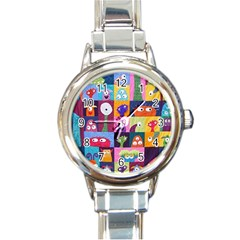 Monster Quilt Round Italian Charm Watch by AnjaniArt