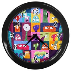 Monster Quilt Wall Clocks (black) by AnjaniArt
