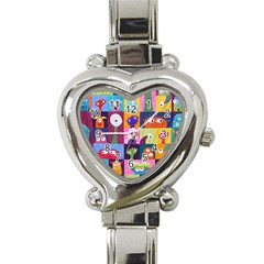 Monster Quilt Heart Italian Charm Watch by AnjaniArt